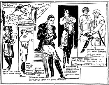 "Actors of the Smith College Club of St. Louis are sketched rehearsing for an all-woman amateur benefit performance of George Bernard Shaw's ""Arms and the Man"" in December 1908. No men were allowed in the rehearsals or at the performance. The illustration is by Marguerite Martyn of the St. Louis Post-Dispatch.[23]"