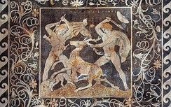 The Stag Hunt Mosaic at the Archaeological Museum of Pella (3rd BC)