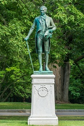 This statue of namesake and trustee Alexander Hamilton is a centerpiece of the Hamilton College campus