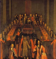 King Christian V presiding over the Supreme Court in 1697