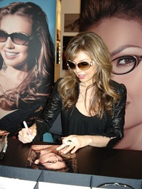 "Thalía in a Visión Expo event in 2007, presenting her eyewear collections ""The Queen of Latin Pop"""