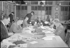 Sub-editor's room at the offices of the Daily Mail newspaper in 1944