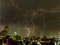 A summer thunderstorm over the city taken from Potts Point, 1991.