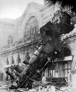 The 1895 Montparnasse derailment in Paris.