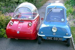 A red Peel Trident and a blue Peel P50