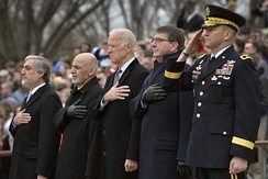 U.S. Defense Secretary Ash Carter, second from right, with, from left, Afghan Chief Executive Abdullah Abdullah, Afghan President Ashraf Ghani and Vice President Joe Biden participate in a wreath-laying ceremony.