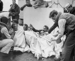 Survivors from German submarine U-175 after being sunk by USCGC Spencer, 17 April 1943