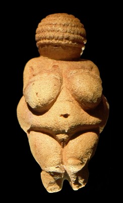 Venus of Willendorf, an example of Paleolithic art, dated 24–26,000 years ago.