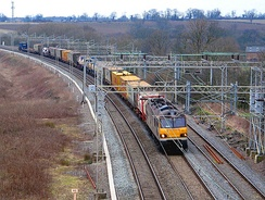 A container-goods train on the West Coast Main Line near Nuneaton