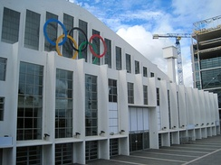 Wembley Arena with Olympic rings for the 2012 Summer Olympics
