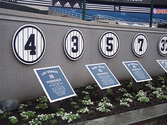 The first four in the row of retired numbers at the old Yankee Stadium