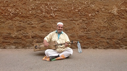 Gnawa singer in Salé, Morocco.