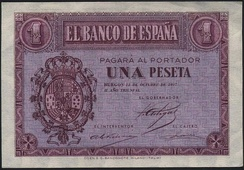 Bank note issued by the Nationalist government in October 1937 with the coat of arms of Alfonso XIII