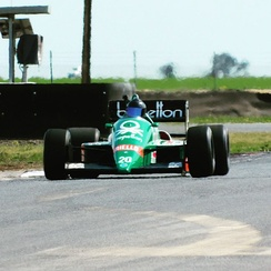 1986 Benetton B186 BMW Formula 1 car (chassis 5) being tested at Mallala Motorsport Park in South Australia in 2016