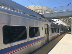 Silverline V electric railcar for the A line at Denver's Union Station.