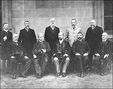 The first Prime Minister of Australia, Edmund Barton (sitting second from left), with his Cabinet, 1901.