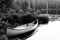 Docked canoe on Pog Lake, Algonquin Park.