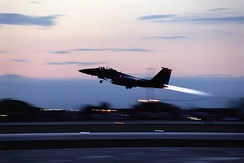 F-15E departing Aviano Air Base, Italy, for a strike mission in Operation Allied Force on 28 March 1999