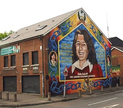 Bobby Sands mural in Belfast. Sands, a member of the Provisional IRA, stood on an Anti H-Block ticket.