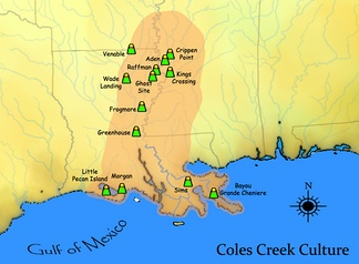 A map showing the extent of the Coles Creek cultural period and some important sites
