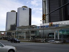 People Mover train comes into the Renaissance Center station