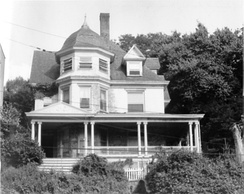 Armstrong's boyhood home, 1032 Warburton Avenue, overlooking the Hudson River in Yonkers, New York, c. 1975. It was demolished in November 1982 due to fire damage.
