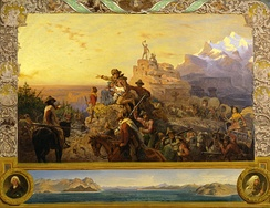 American westward expansion is idealized in Emanuel Leutze's famous painting Westward the Course of Empire Takes Its Way (1861). The title of the painting, from a 1726 poem by Bishop Berkeley, was a phrase often quoted in the era of manifest destiny, expressing a widely held belief that civilization had steadily moved westward throughout history. (more)