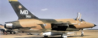 "F-105F-1-RE Thunderchief AF Serial No. 63-8360 of the 561st Tactical Fighter squadron, McConnell AFB, Kansas – 1970. This aircraft was later converted to the F-105G ""Wild Weasel"" configuration. It was hit by flak over North Vietnam on 17 September 1972 and crashed at sea."