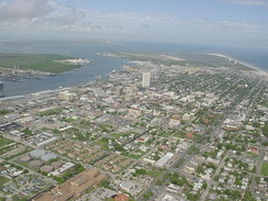 Downtown Galveston as viewed from the air