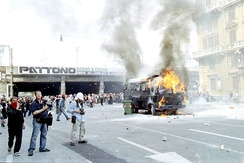 The strong riots during the 27th G8 summit in Genoa, between Italian police and anti-globalization movement, which caused the death of two protesters