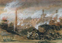 Dowlais Ironworks (1840) by George Childs (1798–1875)