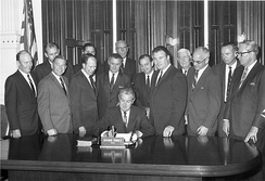 Governor Connally signing the bill that separated Arlington State College from the Texas A&M University System in 1965