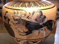 Heracles, Cerberus and Eurystheus on a hydria by the Eagle Painter, c. 525 BC, now in the Louvre, Paris