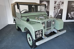 "Series I first registered January 1949""HUE166 first production Land-Rover""portraits of Spencer and Maurice Wilks"