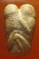 The Ain Sakhri lovers; c. 9000 BCE (late Epipalaeolithic Near East); calcite; height: 10.2 cm, width: 6.3 cm; from Ain Sakhri (near Bethleem, Israel); British Museum (London)