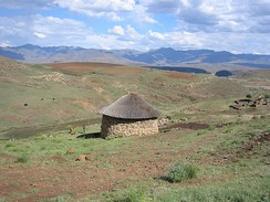 Thatched hut in Lesotho.