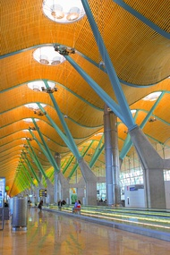 The new terminal at Barajas airport in Madrid, Spain