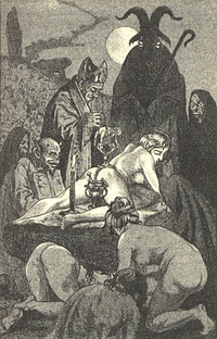 Painting from c. 1788 by Francisco Goya depicting Saint Francis Borgia performing an exorcism. During the early modern period, exorcisms were seen as displays of God's power over Satan.[137]