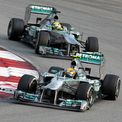 Both Mercedes-AMG Formula One cars at the 2013 Malaysian Grand Prix.