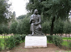 A more conventional statue of Gogol at the Villa Borghese gardens, Rome.