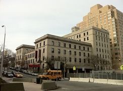 The Manhattan School of Music, at the intersection of West 122nd Street (Seminary Row) and Broadway