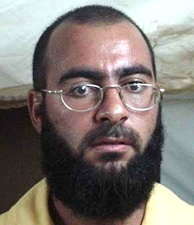 Mugshot of Abu Bakr al-Baghdadi by US armed forces while in detention at Camp Bucca in 2004