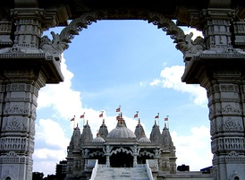 BAPS Shri Swaminarayan Mandir in London, United Kingdom is the largest Hindu temple in the United Kingdom.