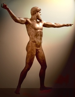 Artemision Bronze, thought to be either Poseidon or Zeus, c. 460 BC, National Archaeological Museum, Athens. Found by fishermen off the coast of Cape Artemisium in 1928. The figure is more than 2 m in height.