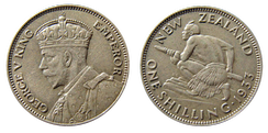 New Zealand shilling coin, 1933, featuring a profile of King George V on the obverse