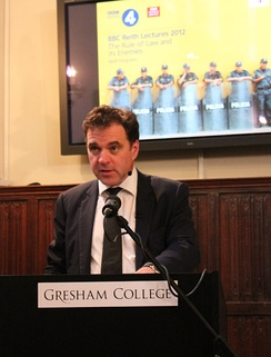 Niall Ferguson recording the third of his 2012 BBC Reith Lecture at Gresham College.