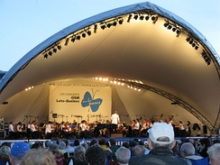 An outdoor performance by the Montreal Symphony Orchestra.