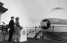 First Lady Pat Nixon ushered in the era of jumbo jets by christening the first commercial 747 at a ceremony at Dulles International Airport on January 15, 1970 (top); the First Lady then climbed aboard and visited the cockpit (below).