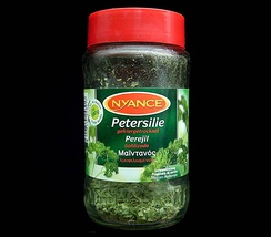 Freeze-dried parsley showing name in German, Spanish and Greek on the label
