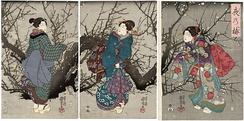 The overall silhouette transformed due to the evolution of obi, sleeves, and the layering of heavy fabrics. (Utagawa Kuniyoshi, Plum Blossoms at Night, woodblock print, 19th century)
